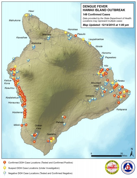 Hawaii County Civil Defense Dengue Fever map updated Monday, December 14, 2015.