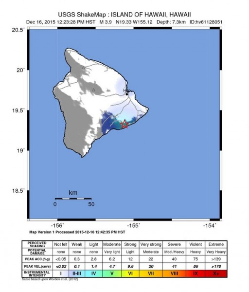 The shakemap by the USGS indicates shaking most prominent in Volcano, Puna and Hilo.