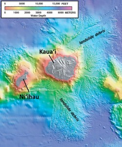 "In this shaded relief and bathymetric map of Niʻihau and Kauaʻi, colors indicate water depth, from shallow (orange and yellow) to deep (purple), with shades of gray indicating island areas above sea level. From: U.S. Geological Survey Geologic Investigations Series Map I-2809, ""Hawaiʻi's Volcanoes Revealed"""