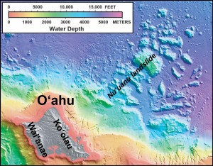 """In this shaded relief and bathymetric map of O'ahu, which comprises two volcanoes (Waiʻanae and Koʻolau), colors indicate water depth, from shallow (orange and yellow) to deep (purple), with shades of gray indicating the island area above sea level. From: U.S. Geological Survey Geologic Investigations Series <a href=""""http://pubs.usgs.gov/imap/2809/"""" target=""""_blank"""">Map I-2809</a>, """"Hawaiʻi's Volcanoes Revealed."""""""