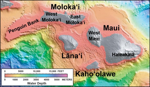 "In this shaded relief and bathymetric map of Maui County, colors indicate water depth, from shallow (orange and yellow) to deep (blue and purple), with shades of gray indicating island areas above sea level. From: <a href=""http://pubs.usgs.gov/imap/2809/"" target=""_blank"">U.S. Geological Survey Geologic Investigations Series Map I-2809, ""Hawaiʻi's Volcanoes Revealed""</a>"