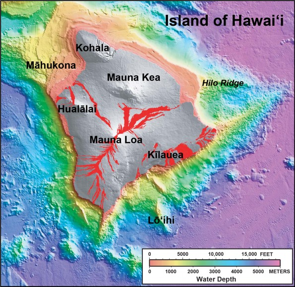 """In this shaded relief and bathymetric map of the Island of Hawai'i, colors indicate water depth, from shallow (orange and yellow) to deep (blue and purple), and shades of gray indicate the land area above sea level. From: U.S. Geological Survey Geologic Investigations Series Map I-2809, """"Hawaiʻi's Volcanoes Revealed"""" (available <a href=""""http://pubs.usgs.gov/imap/2809/"""" target=""""_blank"""">online </a>)."""