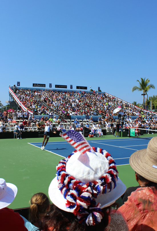 USA's Venus Williams serves during the first set against Poland's Paula Kania. (Hawaii 24/7 photo by Karin Stanton)