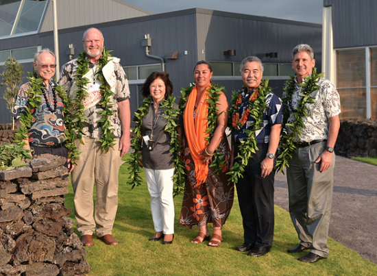 Dignitaries, including Gov. David Ige, were on campus Friday, Feb. 26 for a Moku Ka Piko ceremony to dedicate and bless the West Hawaii community college campus. (Photo courtesy of UH)