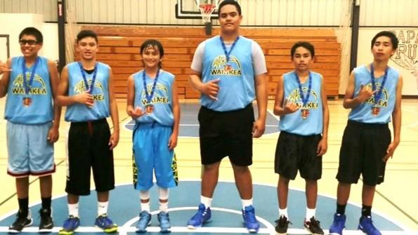 Members of the Intermediate Champion Waiākea Titans (from left)—Dominic Rodrigues, Chance Simeona, Kiai Apele, Macmillain Aloisio, Guyson Ogata, Vergil Henry.