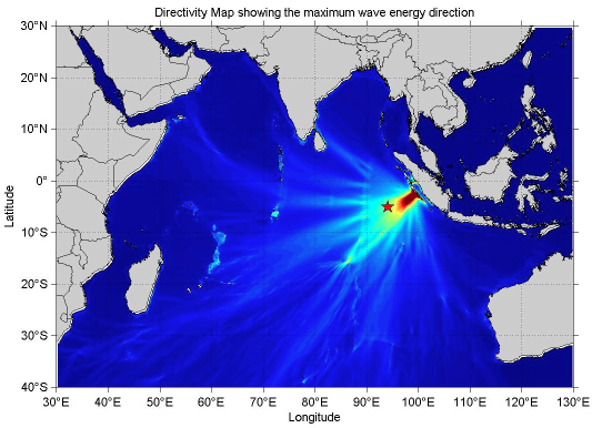 Energy map of quake. March 2, 2016