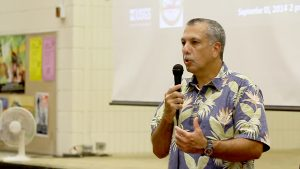 Hawaii County Civil Defense Director Darryl Oliveira at a community meeting at Pahoa High School on September 3, 2014 regarding the June 27th Lava Flow threatening the community. Hawaii 24/7 File Photo