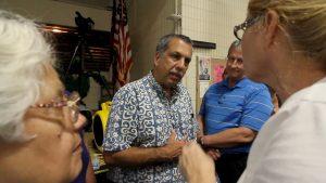 Hawaii County Civil Defense Director Darryl Oliveira at a community meeting at Pahoa High School on September 18, 2014 regarding the June 27th Lava Flow threatening the community. Hawaii 24/7 File Photo
