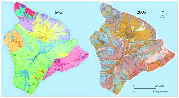 A comparison of the 1946 Stearns and MacDonald map (left) and the 1996 BIMP map, digitized in 2005 (right), shows how the understanding of Hawai'i Island's geology advanced over half a century. The Geologic Map of the Island of Hawaii is available online at http://pubs.usgs.gov/ds/2005/144/. Paper copies can be ordered from the USGS Publications Warehouse: https://pubs.er.usgs.gov/publication/i2524A (geologic map and explanatory pamphlet) and https://pubs.er.usgs.gov/publication/i2524B (sample map and explanatory pamphlet). Graphic from USGS General Interest Product 135.