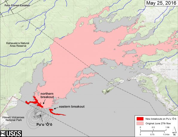 This map shows recent changes to Kīlauea's active East Rift Zone lava flow field. The new breakouts from Puʻu ʻŌʻō that began on May 24 are shown in red, as mapped on May 25. The area of the original June 27th lava flow field is shown in pink, as last mapped in detail on May 9. Puʻu ʻŌʻō lava flows erupted prior to June 27, 2014, are shown in gray. Puʻu ʻŌʻō is at lower left. The blue lines show steepest-descent paths calculated from a 1983 digital elevation model (DEM; for calculation details, see http://pubs.usgs.gov/of/2007/1264/). Steepest-descent path analysis is based on the assumption that the DEM perfectly represents the earth's surface. DEMs, however, are not perfect, so the blue lines on this map can be used to infer only approximate flow paths. The base map is a partly transparent 1:24,000-scale USGS digital topographic map draped over a 1983 10-m digital elevation model (DEM).
