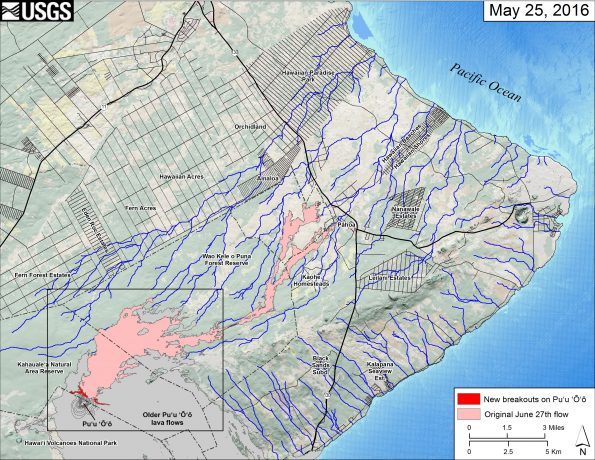 This small-scale map shows Kīlauea's active East Rift Zone lava flow field in relation to the eastern part of the Island of Hawaiʻi. The new breakouts from Puʻu ʻŌʻō that began on May 24 are shown in red, as mapped on May 25. The area of the original June 27th lava flow field is shown in pink, as last mapped in detail on May 9. Puʻu ʻŌʻō lava flows erupted prior to June 27, 2014, are shown in gray. The black box shows the extent of the accompanying large scale map. The blue lines show steepest-descent paths calculated from a 1983 digital elevation model (DEM; for calculation details, see http://pubs.usgs.gov/of/2007/1264/). Steepest-descent path analysis is based on the assumption that the DEM perfectly represents the earth's surface. DEMs, however, are not perfect, so the blue lines on this map can be used to infer only approximate flow paths. The base map is a partly transparent regional land cover map from National Oceanic and Atmospheric Administration (NOAA) Office of Coastal Management draped over a 1983 10-m digital elevation model (DEM). The bathymetry is also from NOAA.