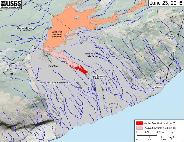 This small-scale map shows Kīlauea's active East Rift Zone lava flow field in relation to the southeastern part of the Island of Hawaiʻi. The area of the active flow field on June 16 is shown in pink, while widening and advancement of the active flow field as mapped on June 23 is shown in red. The area covered by the inactive June 27th flow is shown in orange. The Puʻu ʻŌʻō lava flows erupted prior to June 27, 2014, are shown in gray. The blue lines over the Puʻu ʻŌʻō flow field are steepest-descent paths calculated from a 2013 digital elevation model (DEM), while the blue lines on the rest of the map are steepest-descent paths calculated from a 1983 DEM (for calculation details, see http://pubs.usgs.gov/of/2007/1264/). Steepest-descent path analysis is based on the assumption that the DEM perfectly represents the earth's surface. DEMs, however, are not perfect, so the blue lines on this map can be used to infer only approximate flow paths. The base map is a partly transparent 1:24,000-scale USGS digital topographic map draped over a 1983 10-m digital elevation model (DEM).