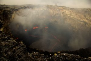 The lava pond in the western portion of Puʻu ʻŌʻō crater remains active, and has enlarged since our last observation. The pond today was about 50 m (160 ft) in diameter, with spattering along the western margin. Photo taken Thursday, June 23, 2016 courtesy of USGS/HVO
