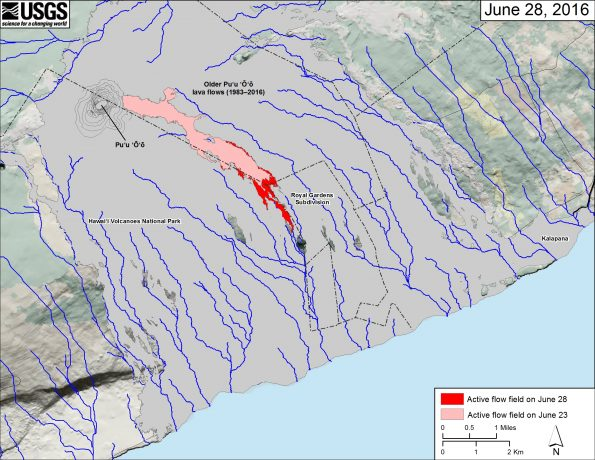 This small-scale map shows Kīlauea's active East Rift Zone lava flow field in relation to the southeastern part of the Island of Hawaiʻi. The area of the active flow field on June 23 is shown in pink, while widening and advancement of the active flow field as mapped on June 28 is shown in red. Older Puʻu ʻŌʻō lava flows (1983–2016) are shown in gray.  The blue lines over the Puʻu ʻŌʻō flow field are steepest-descent paths calculated from a 2013 digital elevation model (DEM), while the blue lines on the rest of the map are steepest-descent paths calculated from a 1983 DEM (for calculation details, see http://pubs.usgs.gov/of/2007/1264/). Steepest-descent path analysis is based on the assumption that the DEM perfectly represents the earth's surface. DEMs, however, are not perfect, so the blue lines on this map can be used to infer only approximate flow paths. The base map is a partly transparent 1:24,000-scale USGS digital topographic map draped over the 1983 10-m digital elevation model (DEM).