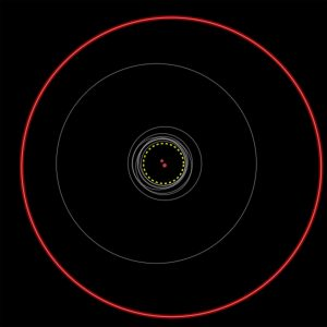 The orbits of all previously known circumbinary planets are shown as gray circles. Kepler-1647b's much larger orbit is the red circle. (Credit: B. Quarles, University of Oklahoma)