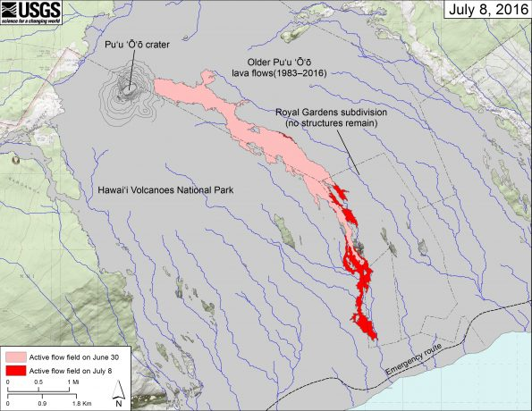 This map shows recent changes to Kīlauea's East Rift Zone lava flow field. The area of the active flow field as of June 30 is shown in pink, while widening and advancement of the active flow as mapped on July 8 is shown in red. Older Puʻu ʻŌʻō lava flows (1983–2016) are shown in gray.  The blue lines over the Puʻu ʻŌʻō flow field are steepest-descent paths calculated from a 2013 digital elevation model (DEM), while the blue lines on the rest of the map are steepest-descent paths calculated from a 1983 DEM (for calculation details, see http://pubs.usgs.gov/of/2007/1264/). Steepest-descent path analysis is based on the assumption that the DEM perfectly represents the earth's surface. DEMs, however, are not perfect, so the blue lines on this map can be used to infer only approximate flow paths. The base map is a partly transparent 1:24,000-scale USGS digital topographic map draped over the 1983 10-m digital elevation model (DEM).