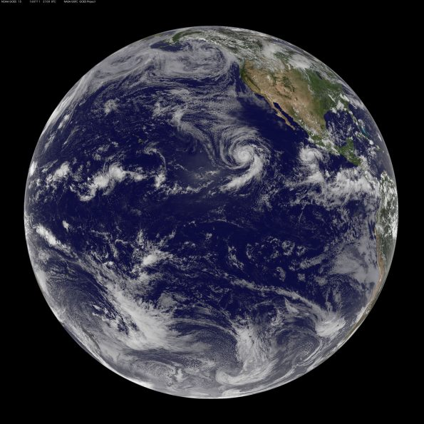 Full earth image taken at 11 a.m. HST Monday, July 11, 2016. Photo courtesy of NOAA-NASA GOES Project