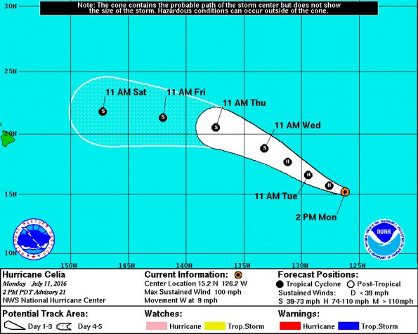 Five-day tracking forecast for Hurricane Celia as of 11 a.m. HST Monday (July 11).