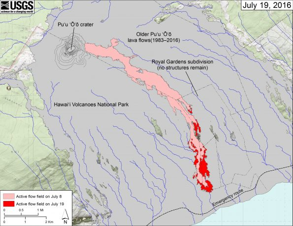 This map shows recent changes to Kīlauea's East Rift Zone lava flow field. The area of the active flow field as of July 8 is shown in pink, while widening and advancement of the active flow as mapped on July 19 is shown in red. Older Puʻu ʻŌʻō lava flows (1983–2016) are shown in gray.  The blue lines over the Puʻu ʻŌʻō flow field are steepest-descent paths calculated from a 2013 digital elevation model (DEM), while the blue lines on the rest of the map are steepest-descent paths calculated from a 1983 DEM (for calculation details, see http://pubs.usgs.gov/of/2007/1264/). Steepest-descent path analysis is based on the assumption that the DEM perfectly represents the earth's surface. DEMs, however, are not perfect, so the blue lines on this map can be used to infer only approximate flow paths. The base map is a partly transparent 1:24,000-scale USGS digital topographic map draped over the 1983 10-m digital elevation model (DEM).