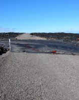 Flow 61G reached the emergency access road inside Hawai'i Volcanoes National Park on July 25 at 3:20 pm and crossed the road in about 30 minutes. At 4:00 pm, the flow front was approximately 110 m (0.07 miles) from the ocean. Photo taken Monday, July 25, 2016 courtesy of USGS/HVO