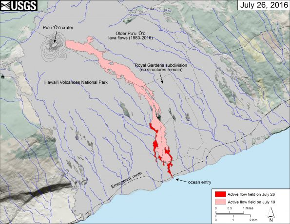 This map shows recent changes to Kīlauea's East Rift Zone lava flow field. The area of the active flow field as of July 19 is shown in pink, while widening and advancement of the active flow as mapped on July 26 is shown in red. Lava reached the ocean on the morning of July 26. Older Puʻu ʻŌʻō lava flows (1983–2016) are shown in gray.  The blue lines over the Puʻu ʻŌʻō flow field are steepest-descent paths calculated from a 2013 digital elevation model (DEM), while the blue lines on the rest of the map are steepest-descent paths calculated from a 1983 DEM (for calculation details, see http://pubs.usgs.gov/of/2007/1264/). Steepest-descent path analysis is based on the assumption that the DEM perfectly represents the earth's surface. DEMs, however, are not perfect, so the blue lines on this map can be used to infer only approximate flow paths. The base map is a partly transparent 1:24,000-scale USGS digital topographic map draped over the 1983 10-m digital elevation model (DEM).