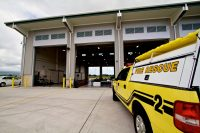 Hilo International Airport Aircraft Rescue and Firefighting Station. A view of the back of the station on the south side. Photography by Baron Sekiya   Hawaii 24/7