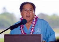 Ford Fuchigami, Director of the Hawaii State Department of Transportation, makes some opening remarks during the dedication ceremony of the new Hilo International Airport Aircraft Rescue and Firefighting Station Friday, July 29, 2016. Photography by Baron Sekiya   Hawaii 24/7