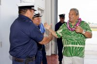 Hawaii County Mayor Billy Kenoi thanks the Hilo International Airport firefighters during the dedication ceremony of the new Hilo International Airport Aircraft Rescue and Firefighting Station Friday, July 29, 2016.