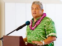 Mayor Billy Kenoi during the opening ceremony of the new Hilo International Airport Aircraft Rescue and Firefighting Station Friday, July 29, 2016.