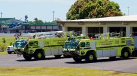 Firefighting vehicles at Hilo International Airport in their old facility. The vehicles will be housed in the new $18.8M facility which was built to accommodate even larger sized vehicles. Photography by Baron Sekiya   Hawaii 24/7