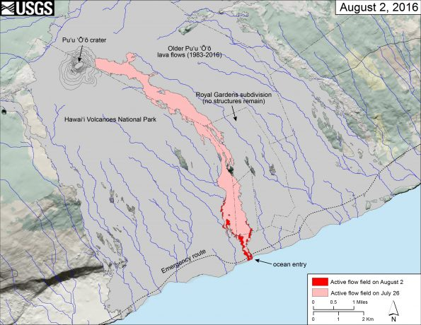 This image shows a thermal map of the flow on the coastal plain, created from airborne thermal images. White pixels are hot, and show areas of active surface breakouts. The background image is a satellite image collected before the current lava flow was active. The thermal map shows scattered pāhoehoe breakouts on the coastal plain, with a narrow lobe of lava crossing the gravel road and extending to the ocean. Over the past week the amount of surface activity near the base of the pali (top of map) has diminished, with most of the activity closer to the coastline.