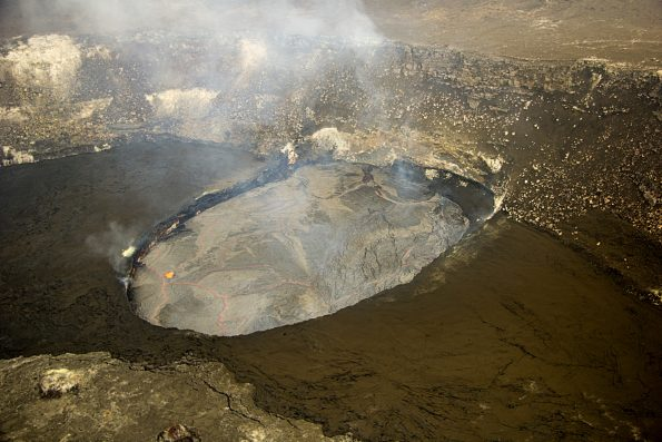 The lava lake at the summit of Kīlauea remained at a high level today, about 18 m (60 ft) from the floor of Halemaʻumaʻu Crater at the time of this photo. Photo taken Monday, September 12, 2016 courtesy of USGS/HVO