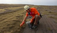 A USGS-HVO scientist collects Pele's hair from the parking area south of Halemaʻumaʻu Crater, which has been closed since early 2008 due to ongoing volcano hazards associated with the summit lava lake. Today, with the lack of trade winds, the noxious sulfur dioxide gas emitted from the lava lake was being blown away from this area, but his gas mask was at the ready just in case the wind shifted. A hard hat is necessary at all times because explosions within the summit vent, which occur without warning, have thrown pieces of molten lava and solid rock into this area and beyond. Photo taken Wednesday, November 9, 2016 courtesy of USGS/HVO
