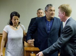 Mayor Billy Kenoi and his wife Takako leave court together after Kenoi was acquitted on all charges in his trial Tuesday (Nov 1). Photo by Hollyn Johnson/ Hawaii Tribune-Herald
