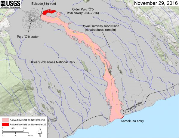 This map shows recent changes to Kīlauea's East Rift Zone lava flow field. The area of the active flow field as of November 3 is shown in pink, while widening and advancement of the active flow as of November 29 is shown in red. The new flow branch east of Puʻu ʻŌʻō started from a breakout at the episode 61g vent on November 21. Older Puʻu ʻŌʻō lava flows (1983–2016) are shown in gray. The yellow lines (dashed where uncertain) show the mapped trace of lava tubes as determined from aerial thermal imaging and ground mapping.  The blue lines over the Puʻu ʻŌʻō flow field are steepest-descent paths calculated from a 2013 digital elevation model (DEM), while the blue lines on the rest of the map are steepest-descent paths calculated from a 1983 DEM (for calculation details, see http://pubs.usgs.gov/of/2007/1264/). Steepest-descent path analysis is based on the assumption that the DEM perfectly represents the earth's surface. DEMs, however, are not perfect, so the blue lines on this map can be used to infer only approximate flow paths. The base map is a partly transparent 1:24,000-scale USGS digital topographic map draped over the 1983 10-m digital elevation model (DEM).