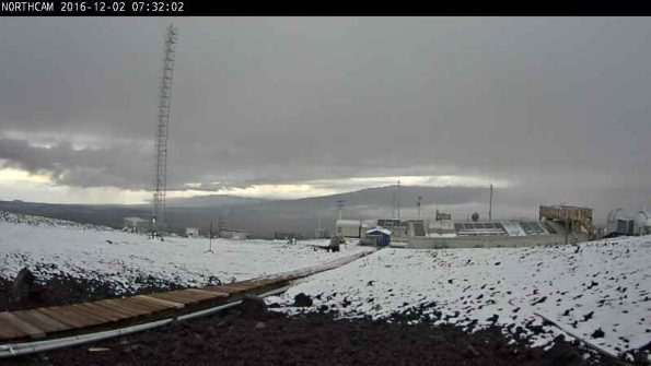 Mauna Loa looking north towards Mauna Kea. Photo courtesy of Mauna Loa, Hawaii Observatory