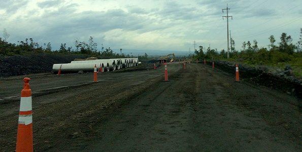 Road work on Daniel K. Inouye Highway (Saddle Road) in Upper Kaumana. Hawaii 24/7 File Photo