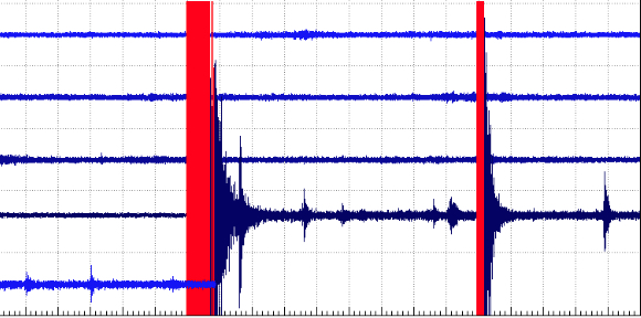 Recording from a seismic sensor in Hawaii Volcanoes National Park Friday (Dec 16) by USGS/HVO.