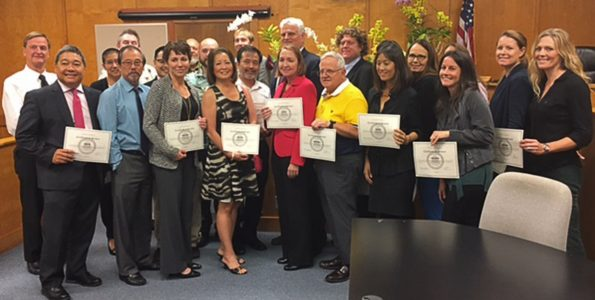 Local attorneys were recognized for their volunteer service to the West Hawaii community during the Kona Self-Help Desk Recognition Awards at the Kona Courthouse on December 9, 2016.  The attorneys provided free legal information to more than 500 West Hawaii residents who visited the Kona Self-Help Desk in 2016.