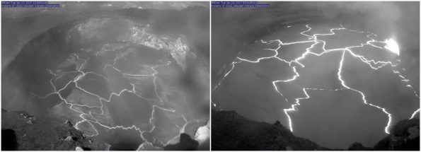 Kīlauea Volcano's summit lava lake level typically rises and falls in concert with summit inflation and deflation, as shown by these two HVO webcam images. The left image was captured a week ago (on Jan. 17, 2017), when the lava level was 52.5 m (172 ft) below the vent rim, the lowest level measured since April 8, 2016. The right image, captured this morning (Jan. 24, 2017), shows the lava lake level at 15 m (49 ft) below the vent rim. Unfortunately, gases emitted from the lava lake and poor weather conditions partially obscure the images. Photos courtesy of USGS/HVO
