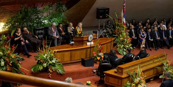 Governor David Ige's address before the twenty-ninth state legislature meeting in joint session January 23, 2017. Photo courtesy of Hawaii State Senate