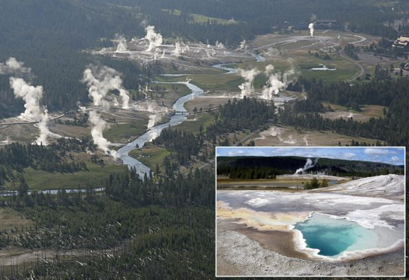 Yellowstone National Park is the site of Earth's largest concentration of geysers, as well as steam vents, hot springs, and mudpots. These hydrothermal features attest to the region's volcanic history, which spans over two million years and is the reason that the Yellowstone Volcano Observatory was established. Old Faithful is visible in the upper right corner of this aerial view of the Park's Upper Geyser Basin. INSET: Heart Spring, also in Upper Geyser Basin, is a pool of near-boiling, blue water about 10 feet across and 15 feet deep surrounded by mats of white sinter and orange-brown algae. National Park Service photos.