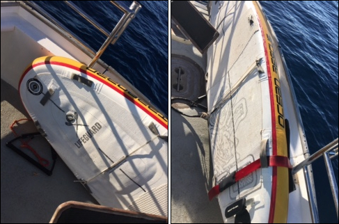 Found paddleboard. Photos courtesy fishing vessel Strike Zone crew