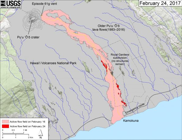 This map shows recent changes to Kīlauea's East Rift Zone lava flow field. The area of the active flow field as of February 16 is shown in pink, while widening and advancement of the active flow as of February 24 is shown in red. Older Puʻu ʻŌʻō lava flows (1983–2016) are shown in gray. The yellow line is the trace of the active lava tube (dashed where uncertain).  The blue lines over the Puʻu ʻŌʻō flow field are steepest-descent paths calculated from a 2013 digital elevation model (DEM), while the blue lines on the rest of the map are steepest-descent paths calculated from a 1983 DEM (for calculation details, see http://pubs.usgs.gov/of/2007/1264/). Steepest-descent path analysis is based on the assumption that the DEM perfectly represents the earth's surface. DEMs, however, are not perfect, so the blue lines on this map can be used to infer only approximate flow paths. The base map is a partly transparent 1:24,000-scale USGS digital topographic map draped over the 1983 10-m digital elevation model (DEM).