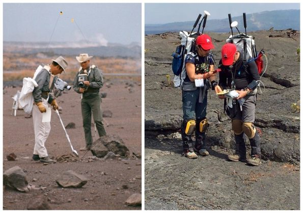 Left: Astronauts James A. Lovell, Jr., and Fred W. Haise, Jr., members of NASA's third team of moon explorers, carried cameras, communications equipment, and an Apollo Lunar Hand Tools scoop during a simulation of a lunar traverse at Kīlauea Volcano in December 1969. Right: Astronauts from NASA's BASALT field team explore Kīlauea's Mauna Ulu lava flow field within Hawaiʻi Volcanoes National Park in September 2016. Their custom-made backpacks hold necessary electronics and communications systems, including portable GPS, handheld spectrometers, video cameras, and communication equipment, as well as the tool of every geologist: a rock hammer.  Photos courtesy of NASA.