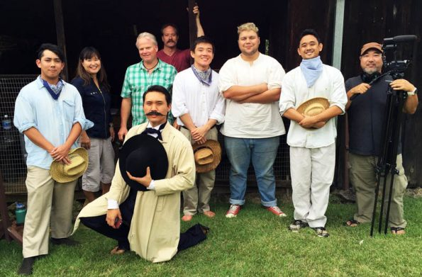 Some of the cast and crew of the Katsu Goto movie project at the D. Uchida Farm - Kona Coffee Living History Farm.