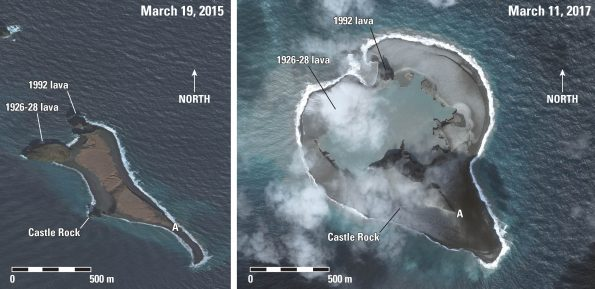 Bogoslof Island before the 2016-17 eruption (LEFT) and on March 11, 2017 (RIGHT) The island has tripled in size as ash and explosive debris have accumulated around the eruptive vent. USGS figure courtesy of the Alaska Volcano Observatory. Image data provided under Digital Globe NextView License.