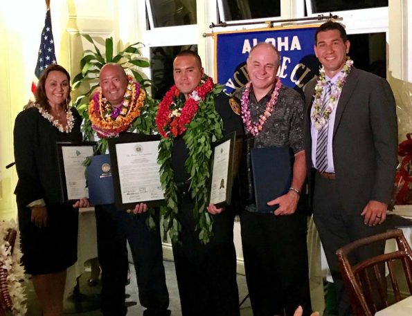 Pictured from left to right: Hawaii County Council Member Susan Lee Loy, 'Firefighter of the Year' EMS Captain Chris Honda, 'East Hawai'i Officer of the Year' Puna Patrol Officer Joshua Baumgarner, Prosecuting Attorney Mitch Roth, and Senator Kaiali'i Kahele
