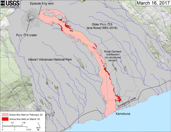 This map shows recent changes to Kīlauea's East Rift Zone lava flow field. The area of the active flow field as of February 24 is shown in pink, while widening and advancement of the active flow as of March 16 is shown in red. Older Puʻu ʻŌʻō lava flows (1983–2016) are shown in gray. The yellow line is the trace of the active lava tube (dashed where uncertain).  The blue lines over the Puʻu ʻŌʻō flow field are steepest-descent paths calculated from a 2013 digital elevation model (DEM), while the blue lines on the rest of the map are steepest-descent paths calculated from a 1983 DEM (for calculation details, see http://pubs.usgs.gov/of/2007/1264/). Steepest-descent path analysis is based on the assumption that the DEM perfectly represents the earth's surface. DEMs, however, are not perfect, so the blue lines on this map can be used to infer only approximate flow paths. The base map is a partly transparent 1:24,000-scale USGS digital topographic map draped over the 1983 10-m digital elevation model (DEM).