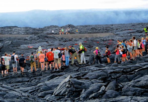 A wide range of clothing and preparedness is seen amongst the estimated 1,500 people a day visiting Kilauea's active flow field and ocean entry. Photo courtesy USGS/HVO.